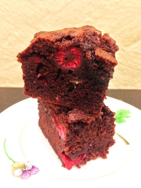 stacked raspberry chocolate brownies